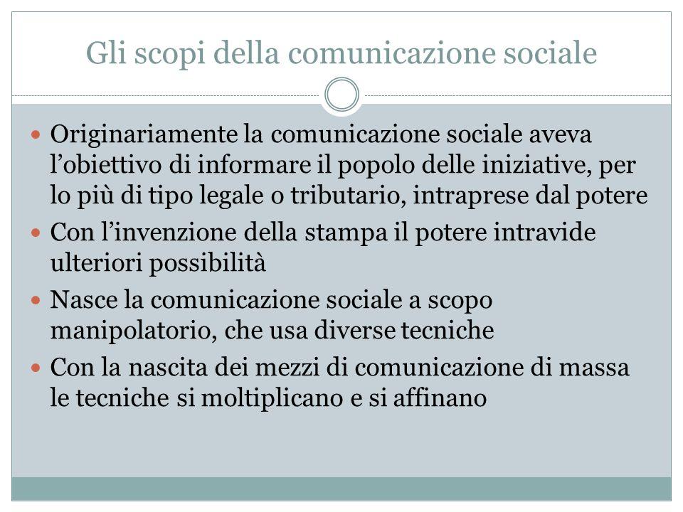 Gli scopi della comunicazione sociale