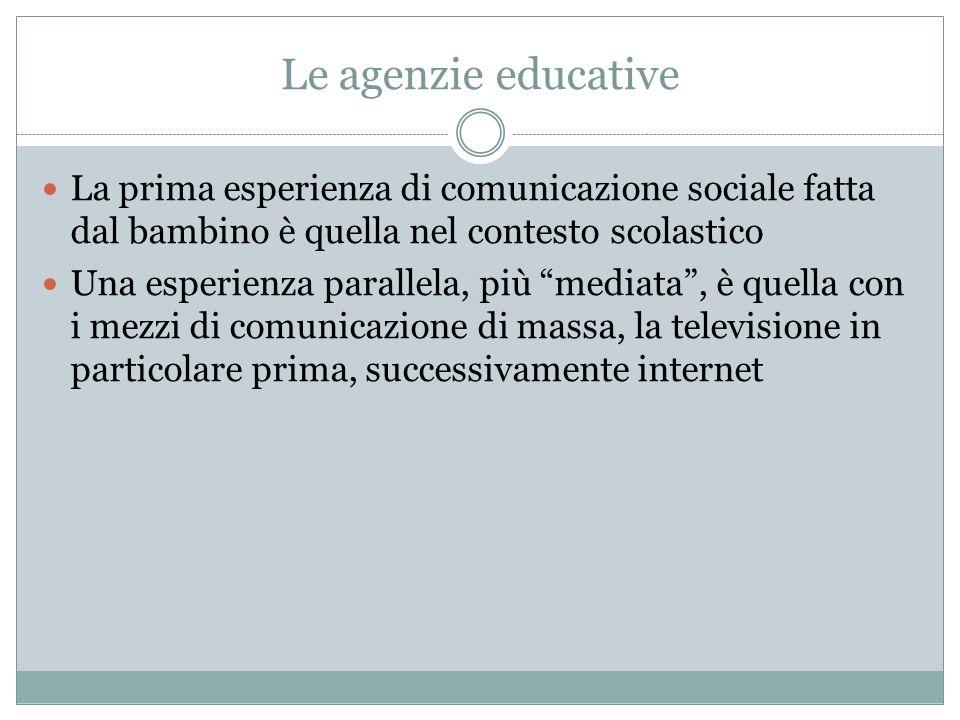 Le agenzie educative La prima esperienza di comunicazione sociale fatta dal bambino è quella nel contesto scolastico.