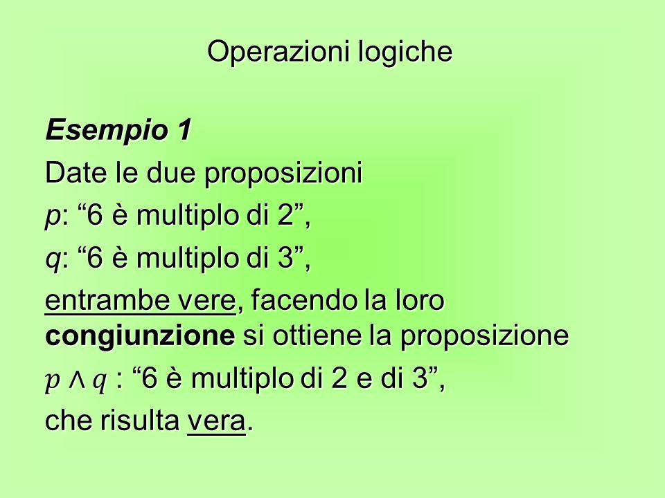 Operazioni logiche Esempio 1. Date le due proposizioni. p: 6 è multiplo di 2 , q: 6 è multiplo di 3 ,
