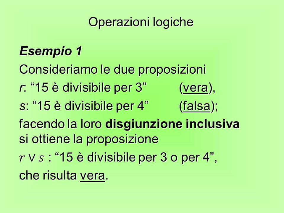 Operazioni logiche Esempio 1. Consideriamo le due proposizioni. r: 15 è divisibile per 3 (vera),