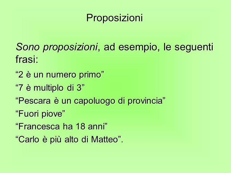 Sono proposizioni, ad esempio, le seguenti frasi: