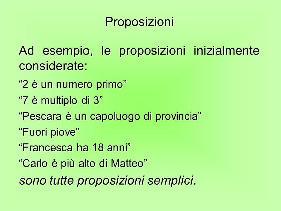 Ad esempio, le proposizioni inizialmente considerate: