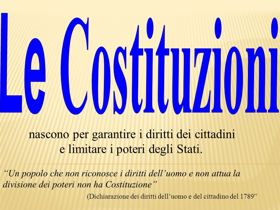 Le Costituzioni e limitare i poteri degli Stati.