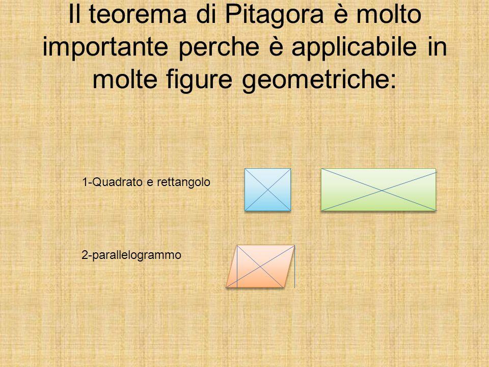 Il teorema di Pitagora è molto importante perche è applicabile in molte figure geometriche: