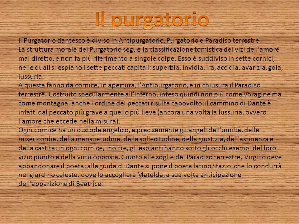 Il purgatorio Il Purgatorio dantesco è diviso in Antipurgatorio, Purgatorio e Paradiso terrestre.