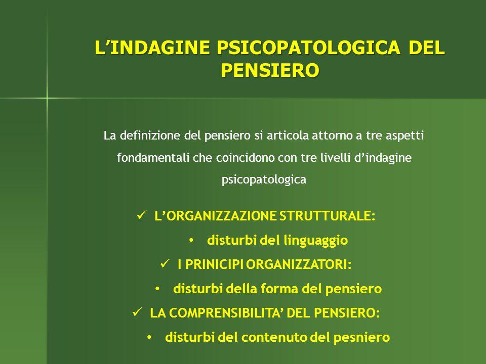 L'INDAGINE PSICOPATOLOGICA DEL PENSIERO