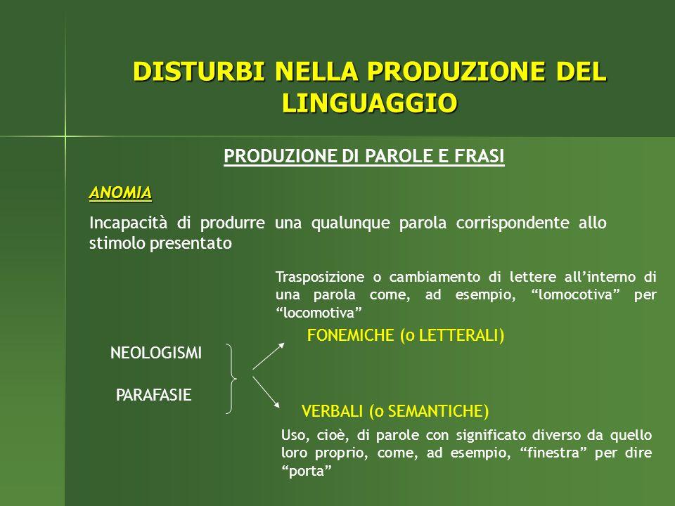 DISTURBI NELLA PRODUZIONE DEL LINGUAGGIO PRODUZIONE DI PAROLE E FRASI