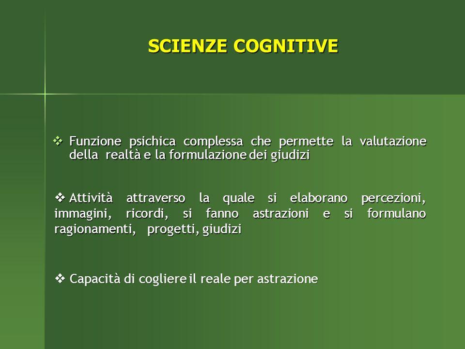 SCIENZE COGNITIVE Funzione psichica complessa che permette la valutazione della realtà e la formulazione dei giudizi.