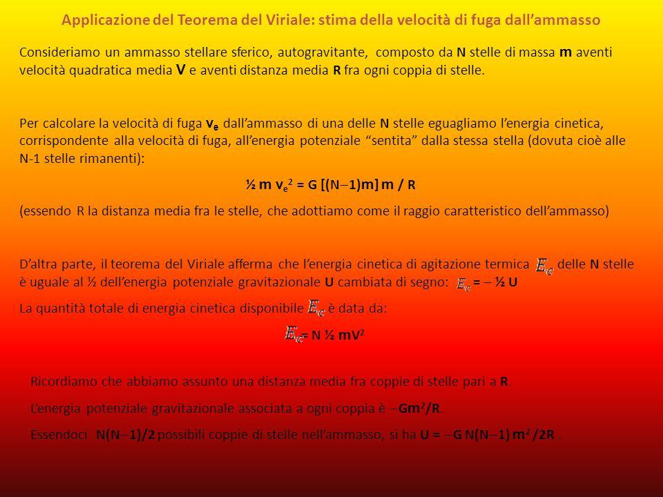 Applicazione del Teorema del Viriale: stima della velocità di fuga dall'ammasso