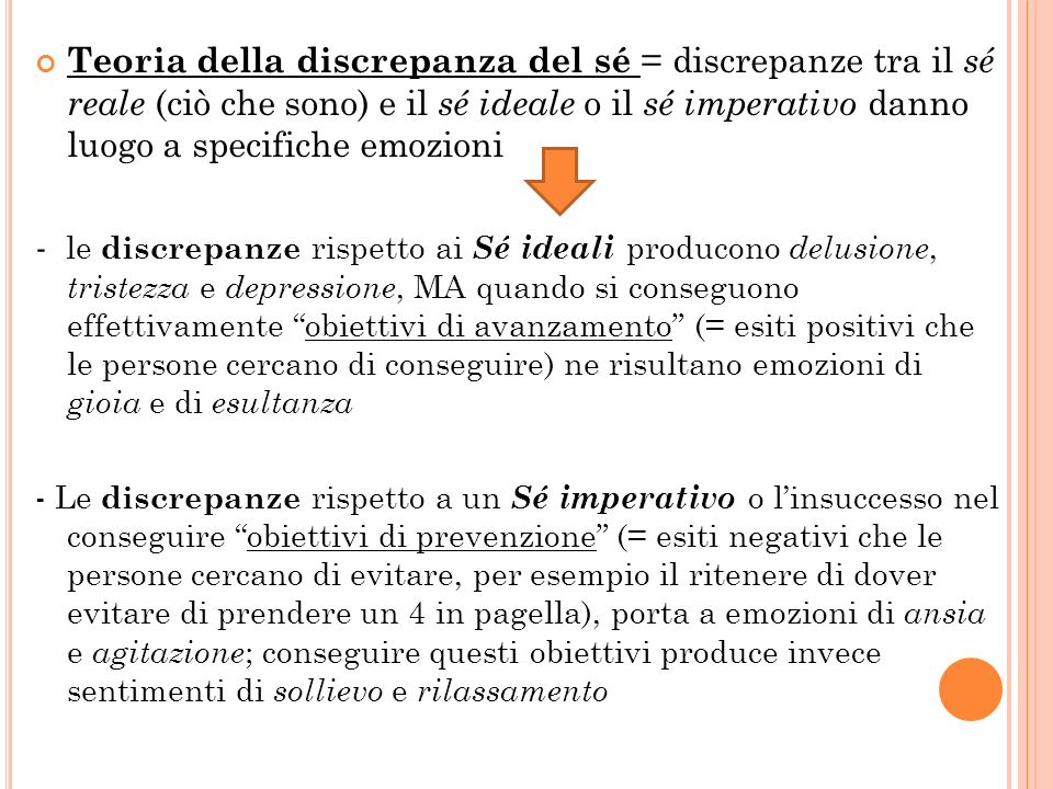 Teoria della discrepanza del sé = discrepanze tra il sé reale (ciò che sono) e il sé ideale o il sé imperativo danno luogo a specifiche emozioni