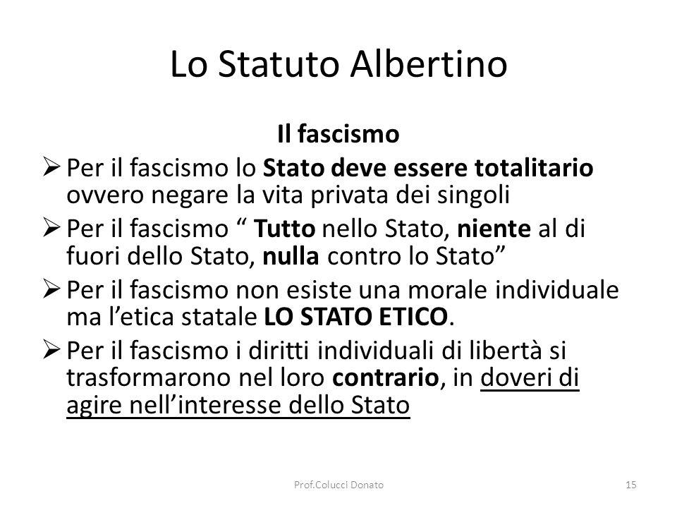 Lo Statuto Albertino Il fascismo