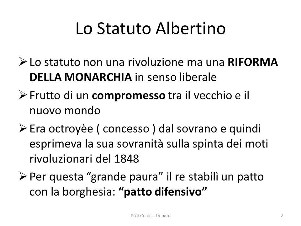 Lo Statuto Albertino Lo statuto non una rivoluzione ma una RIFORMA DELLA MONARCHIA in senso liberale.
