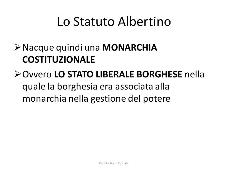 Lo Statuto Albertino Nacque quindi una MONARCHIA COSTITUZIONALE