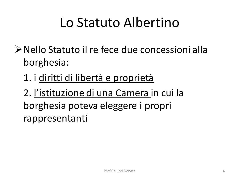 Lo Statuto Albertino Nello Statuto il re fece due concessioni alla borghesia: 1. i diritti di libertà e proprietà.