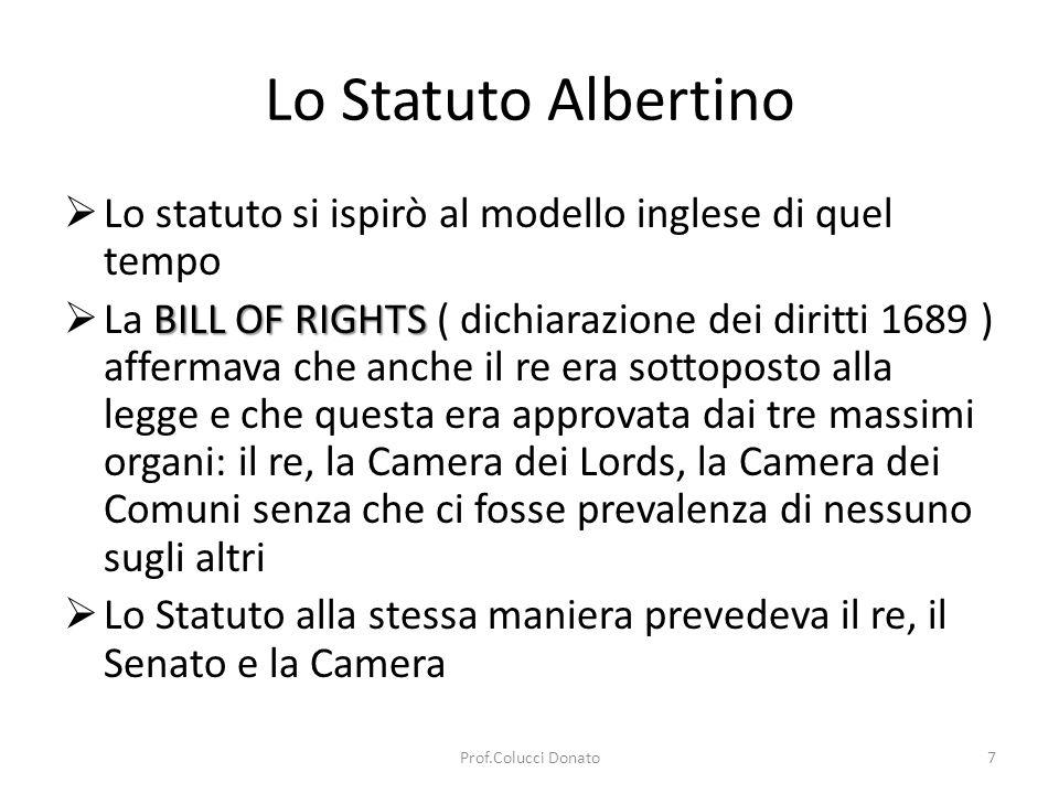 Lo Statuto Albertino Lo statuto si ispirò al modello inglese di quel tempo.