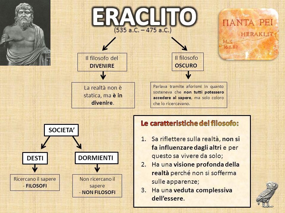 ERACLITO Le caratteristiche del filosofo: (535 a.C. – 475 a.C.)