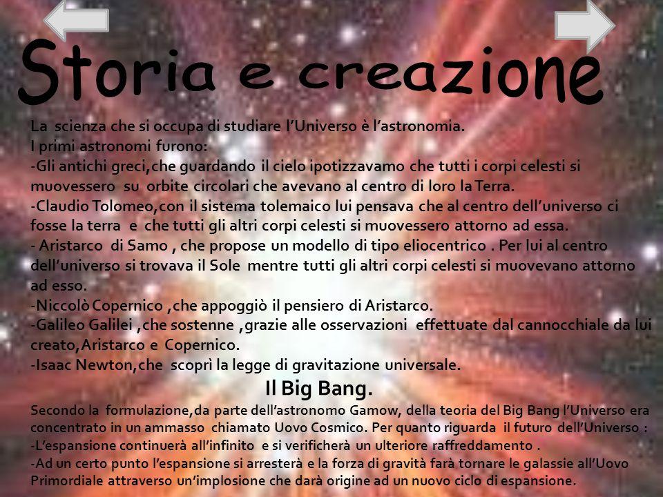 Storia e creazione La scienza che si occupa di studiare l'Universo è l'astronomia. I primi astronomi furono:
