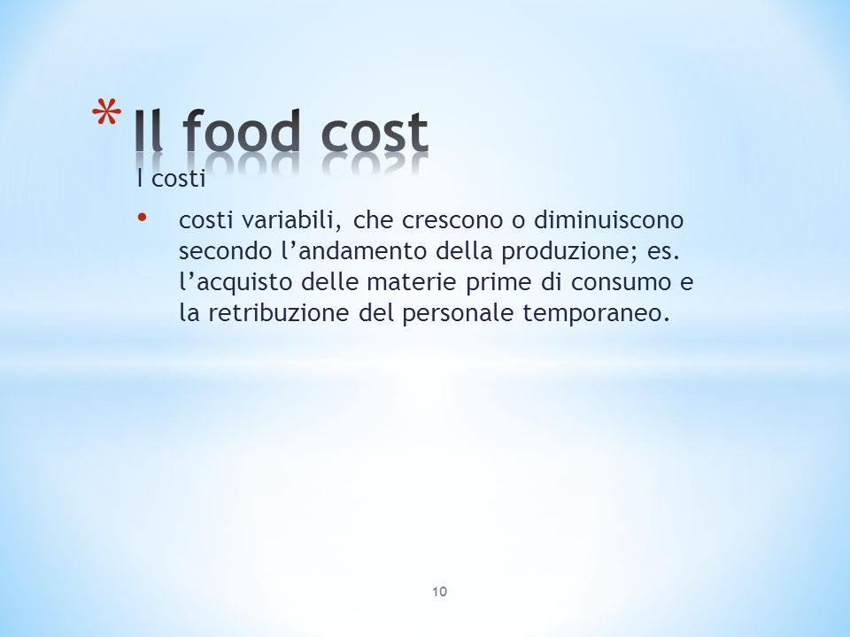 Il food cost I costi.
