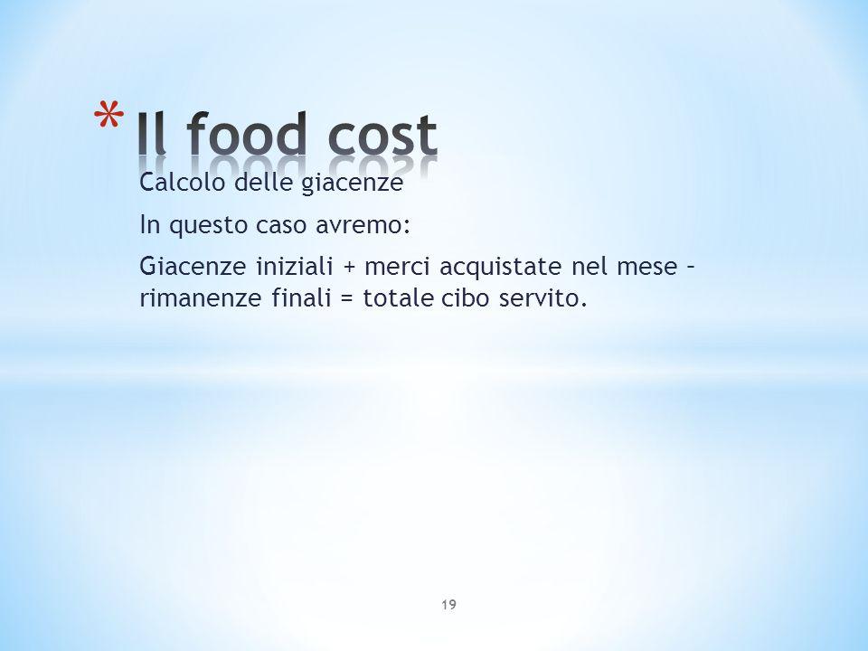 Il food cost Calcolo delle giacenze In questo caso avremo: