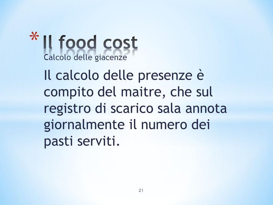 Il food cost Calcolo delle giacenze.