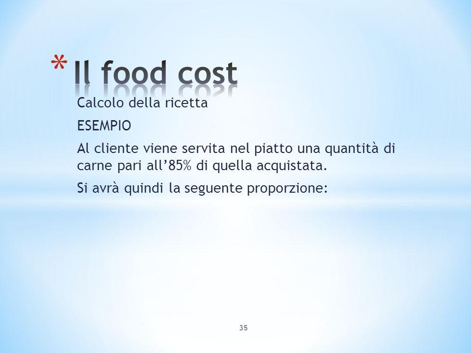 Il food cost Calcolo della ricetta ESEMPIO