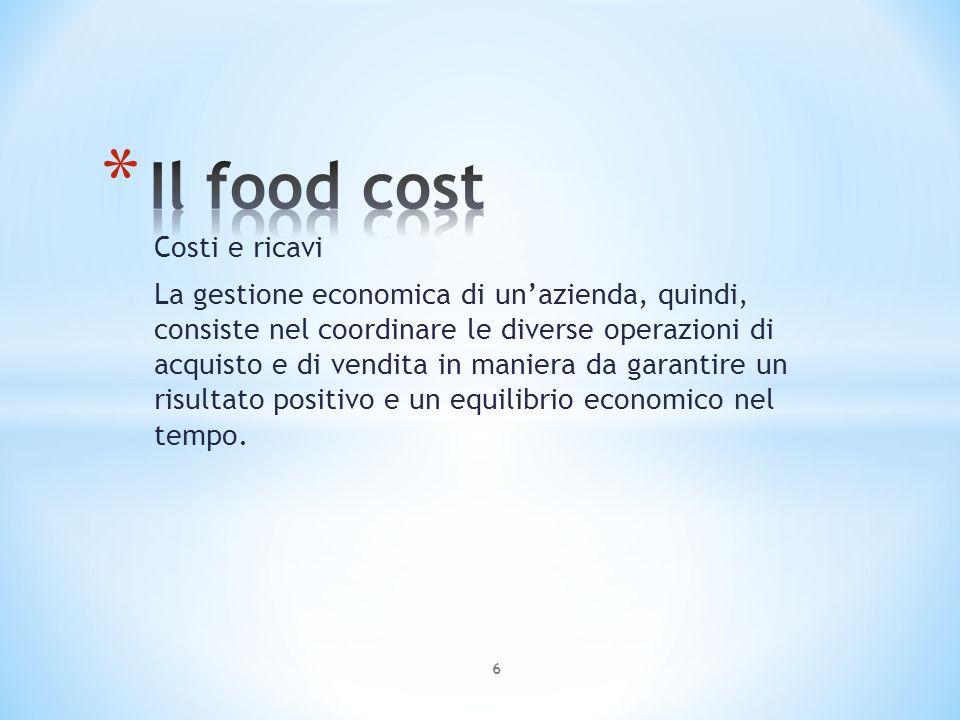 Il food cost Costi e ricavi