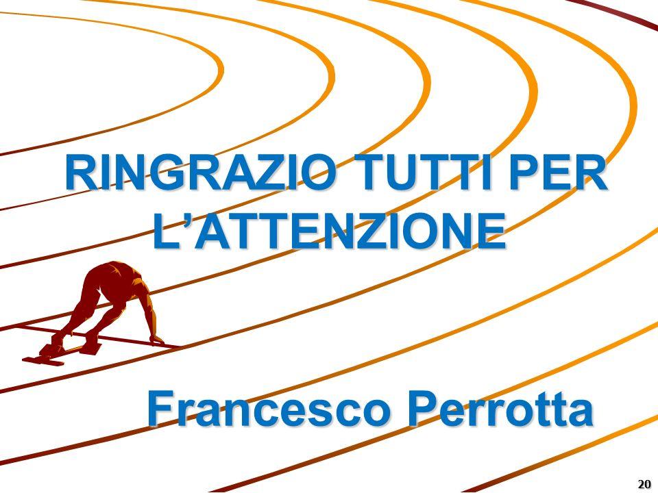 RINGRAZIO TUTTI PER L'ATTENZIONE Francesco Perrotta
