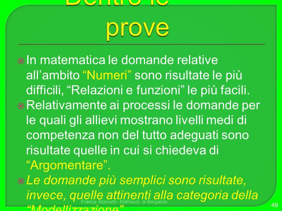 Dentro le prove In matematica le domande relative all'ambito Numeri sono risultate le più difficili, Relazioni e funzioni le più facili.