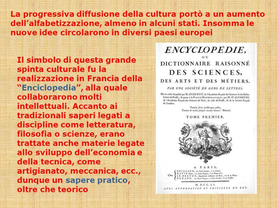 La progressiva diffusione della cultura portò a un aumento dell'alfabetizzazione, almeno in alcuni stati. Insomma le nuove idee circolarono in diversi paesi europei