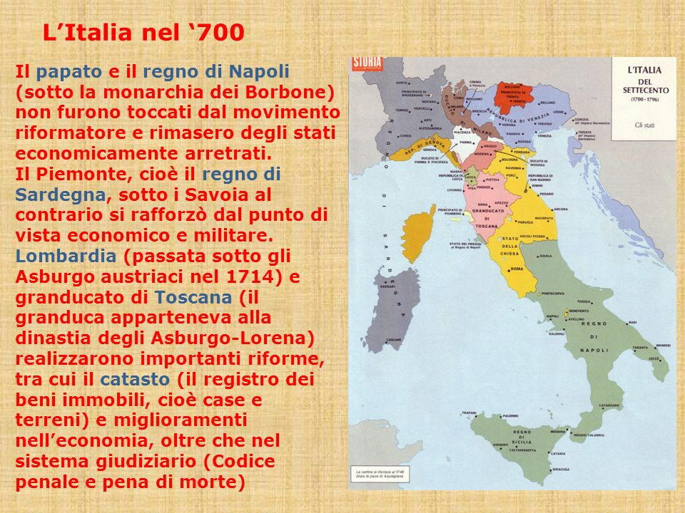 L'Italia nel '700