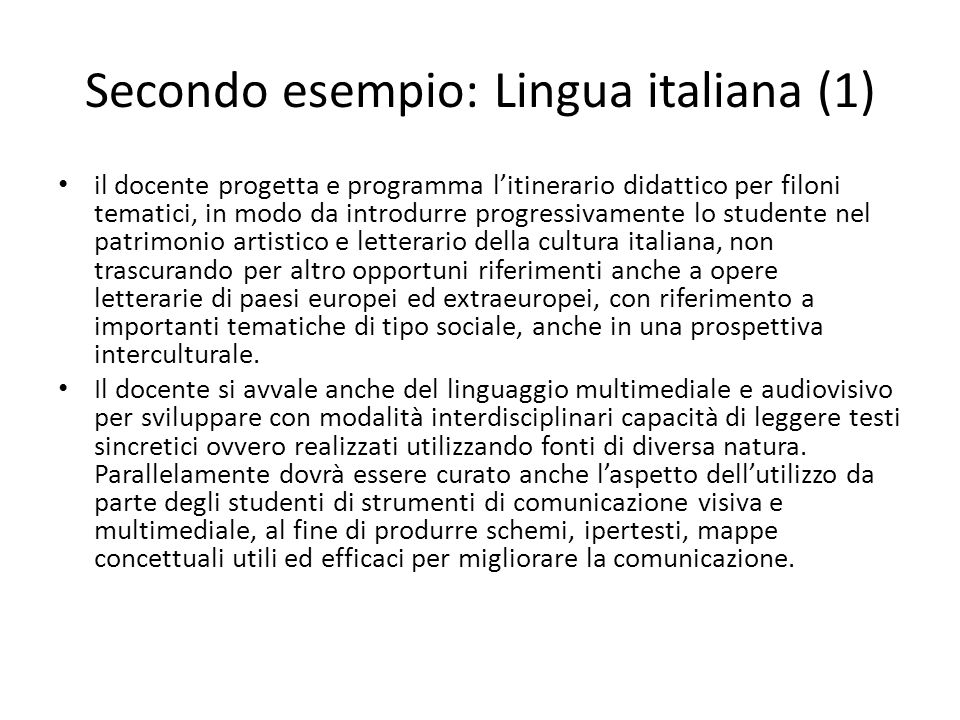 Secondo esempio: Lingua italiana (1)