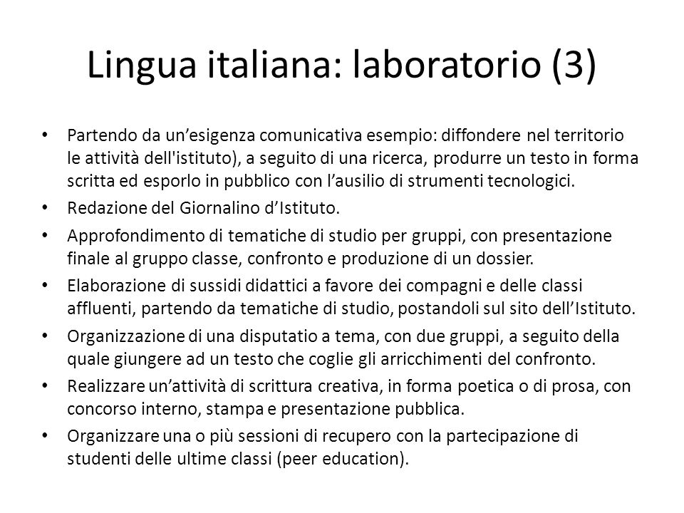 Lingua italiana: laboratorio (3)