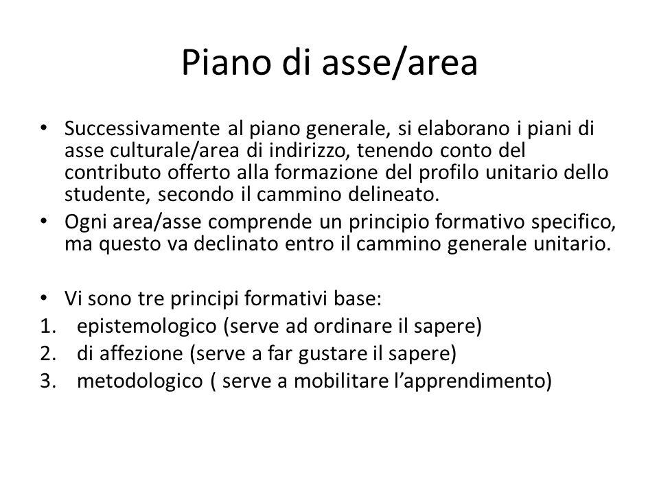 Piano di asse/area