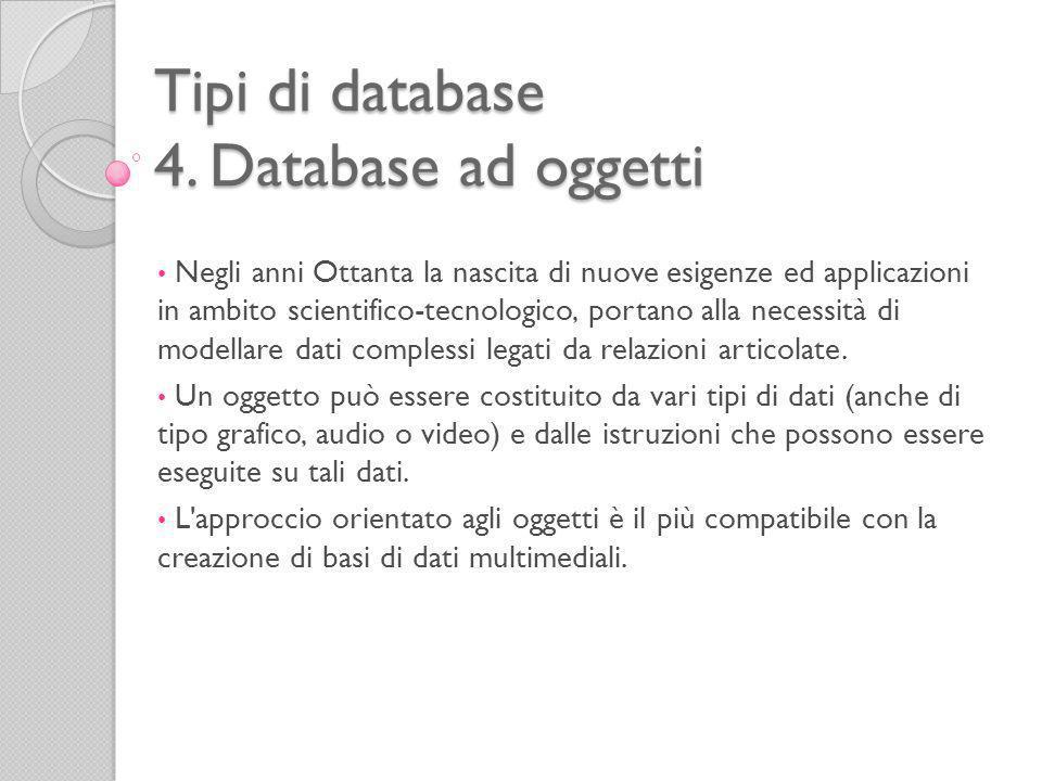 Tipi di database 4. Database ad oggetti