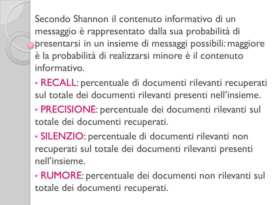 Secondo Shannon il contenuto informativo di un messaggio è rappresentato dalla sua probabilità di presentarsi in un insieme di messaggi possibili: maggiore è la probabilità di realizzarsi minore è il contenuto informativo.