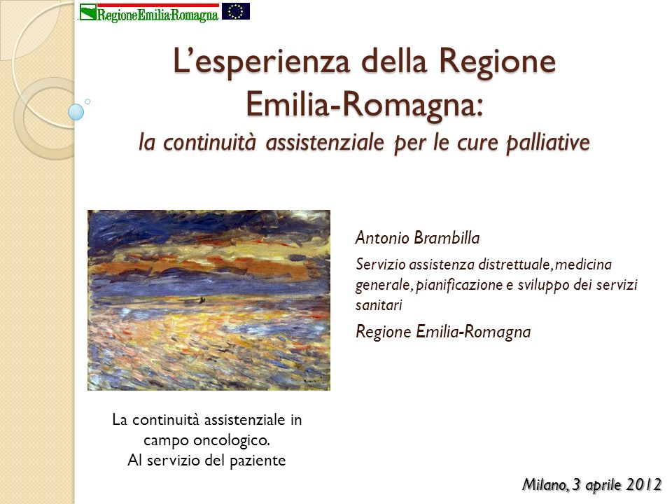 L'esperienza della Regione Emilia-Romagna: la continuità assistenziale per le cure palliative