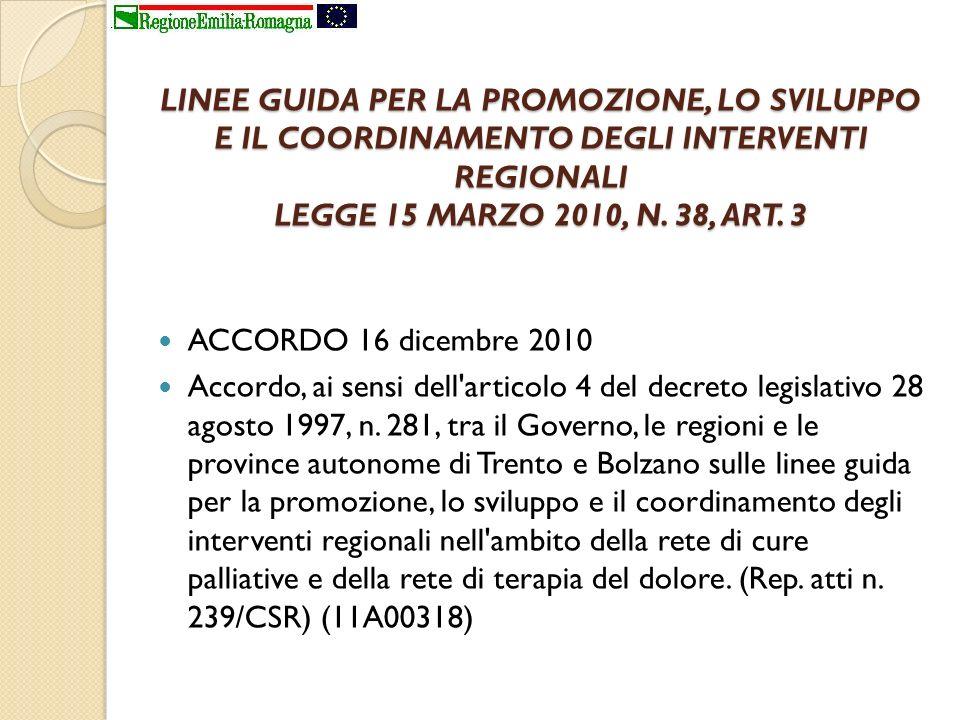 LINEE GUIDA PER LA PROMOZIONE, LO SVILUPPO E IL COORDINAMENTO DEGLI INTERVENTI REGIONALI LEGGE 15 MARZO 2010, N. 38, ART. 3