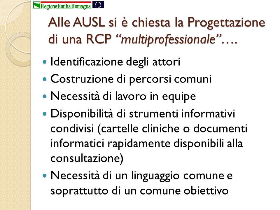 Alle AUSL si è chiesta la Progettazione di una RCP multiprofessionale ….