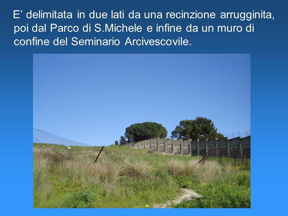 E' delimitata in due lati da una recinzione arrugginita, poi dal Parco di S.Michele e infine da un muro di confine del Seminario Arcivescovile.