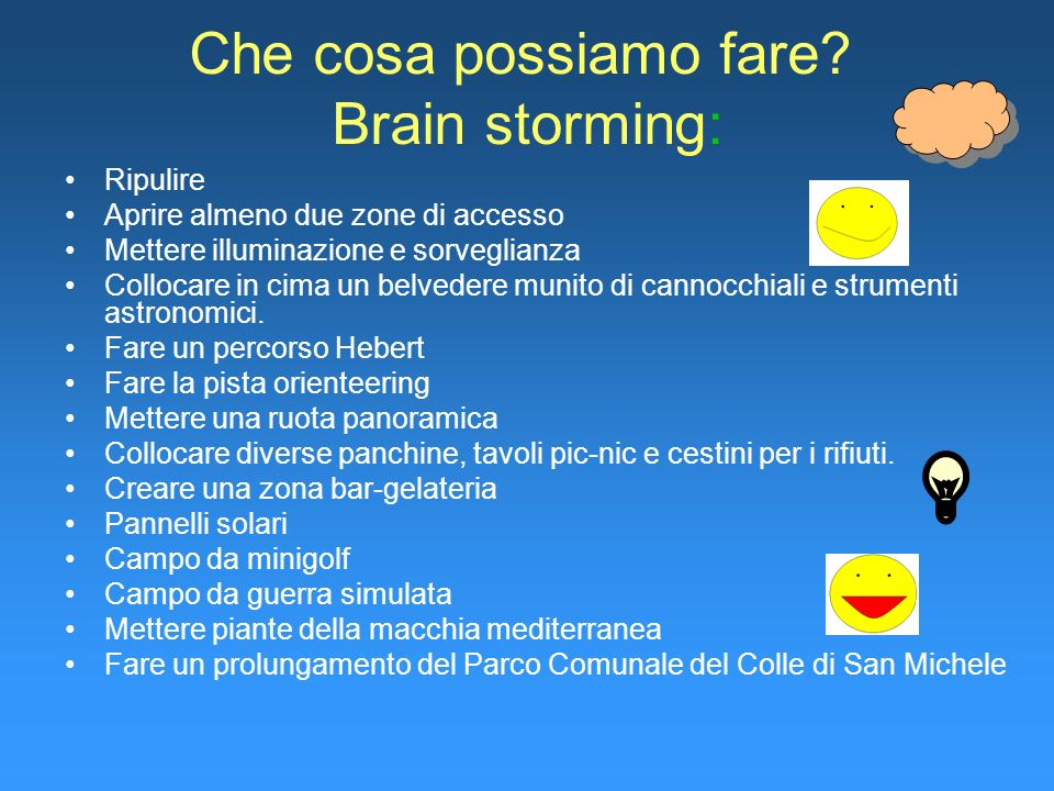Che cosa possiamo fare Brain storming: