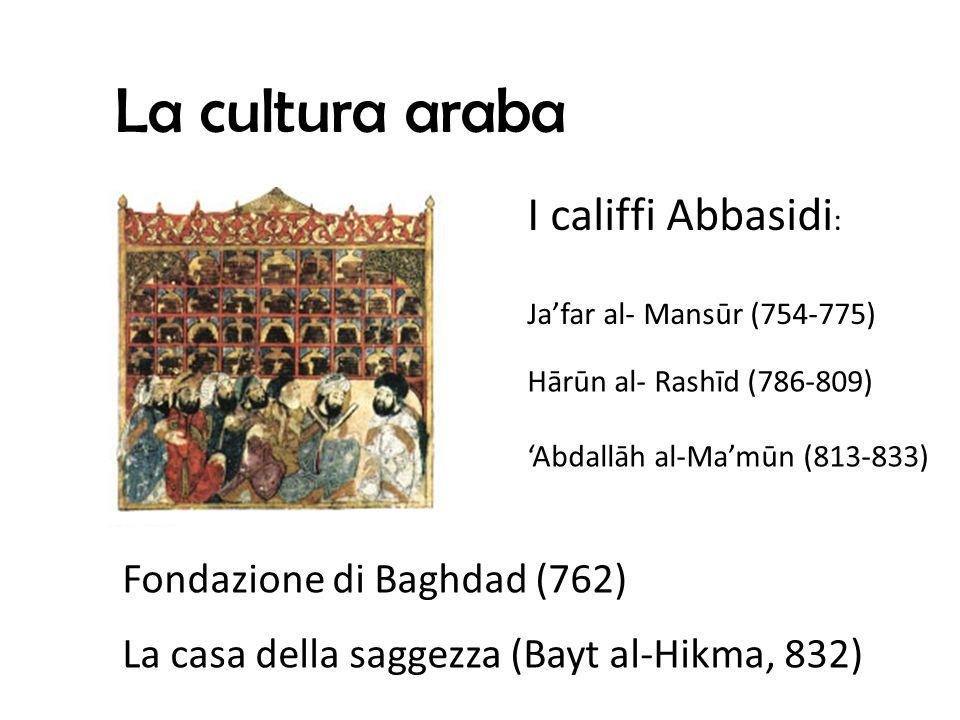 La cultura araba I califfi Abbasidi: Fondazione di Baghdad (762)
