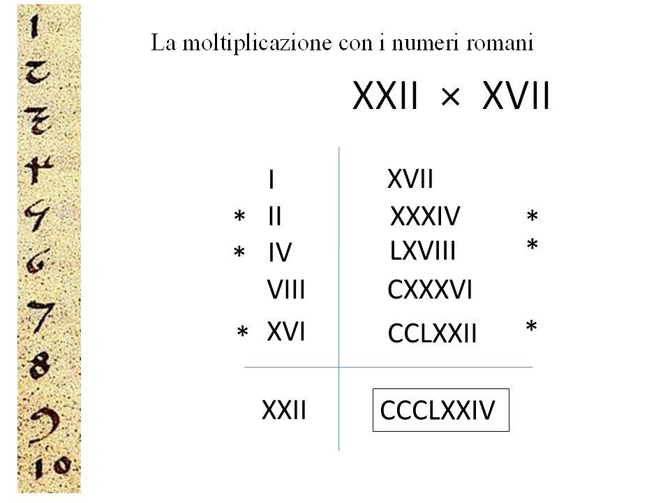 I XVII II XXXIV * * IV LXVIII * * VIII CXXXVI XVI * * CCLXXII XXII CCCLXXIV