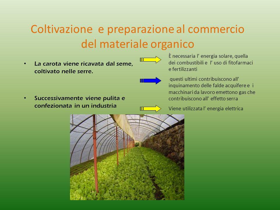 Coltivazione e preparazione al commercio del materiale organico