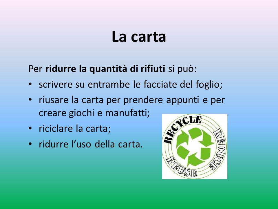 La carta Per ridurre la quantità di rifiuti si può: