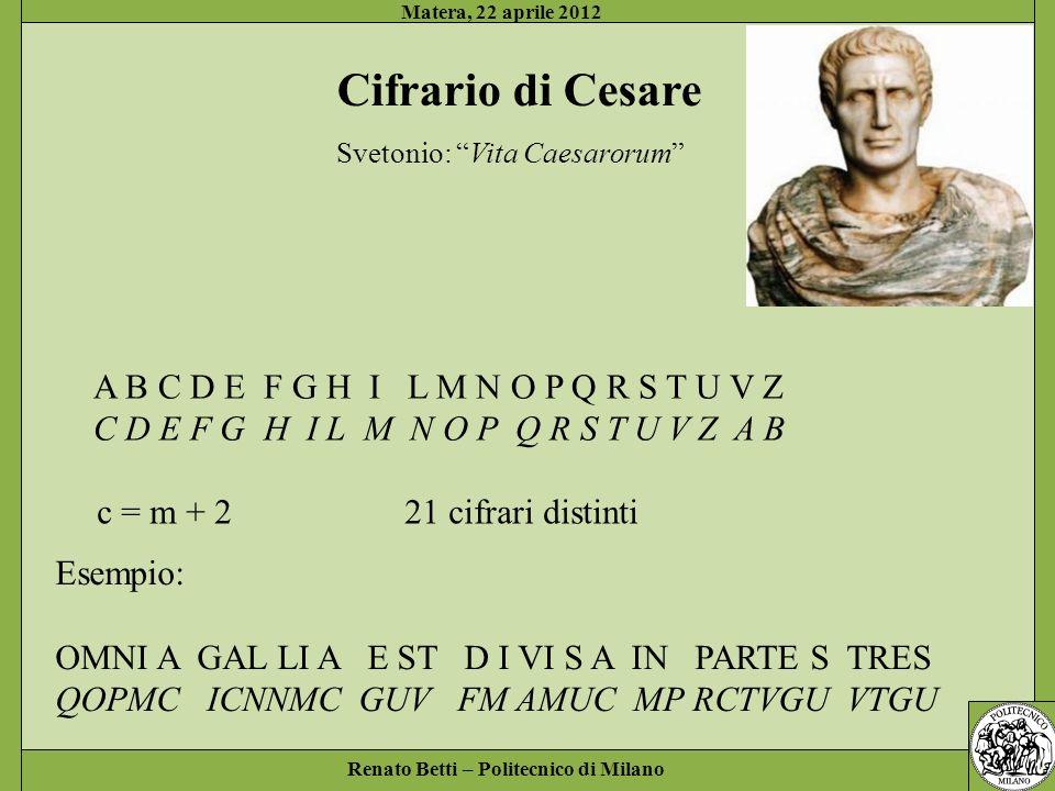 Cifrario di Cesare A B C D E F G H I L M N O P Q R S T U V Z