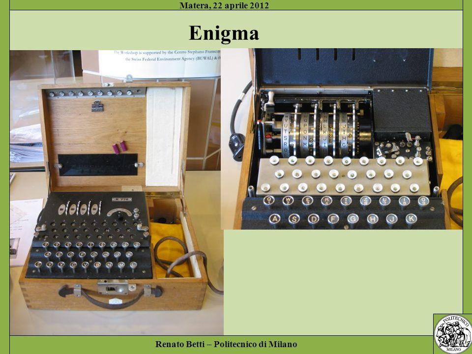 Matera, 22 aprile 2012 Enigma Renato Betti – Politecnico di Milano