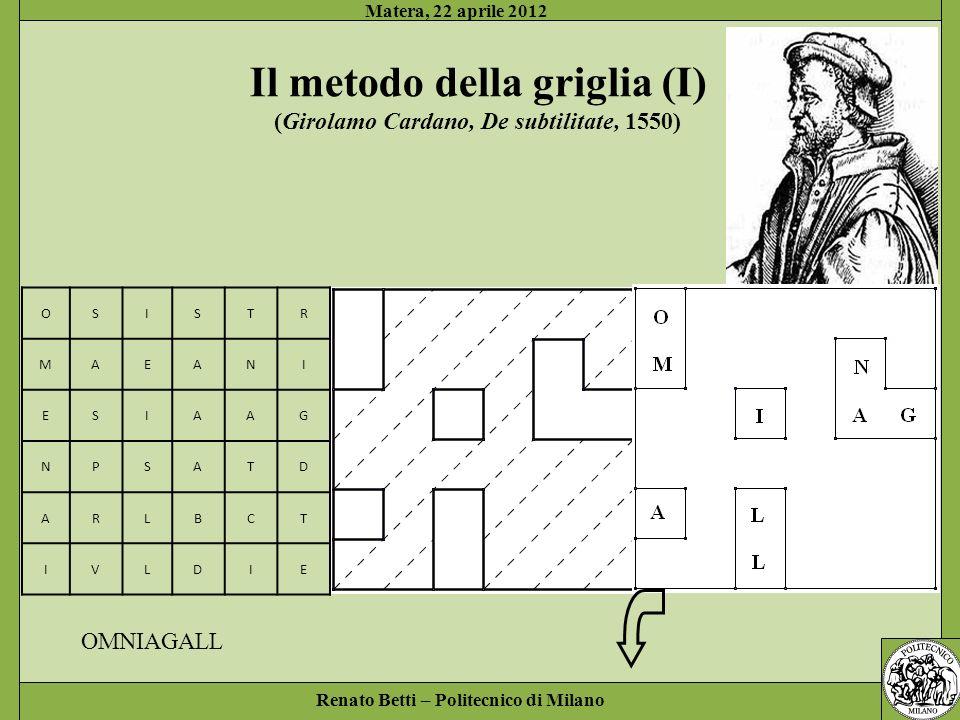 Il metodo della griglia (I) (Girolamo Cardano, De subtilitate, 1550)