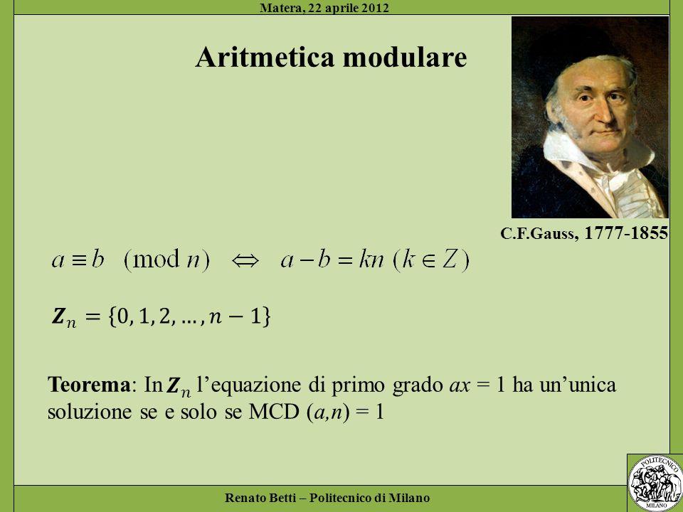 Aritmetica modulare 𝒁 𝑛 = 0, 1, 2, …, 𝑛−1