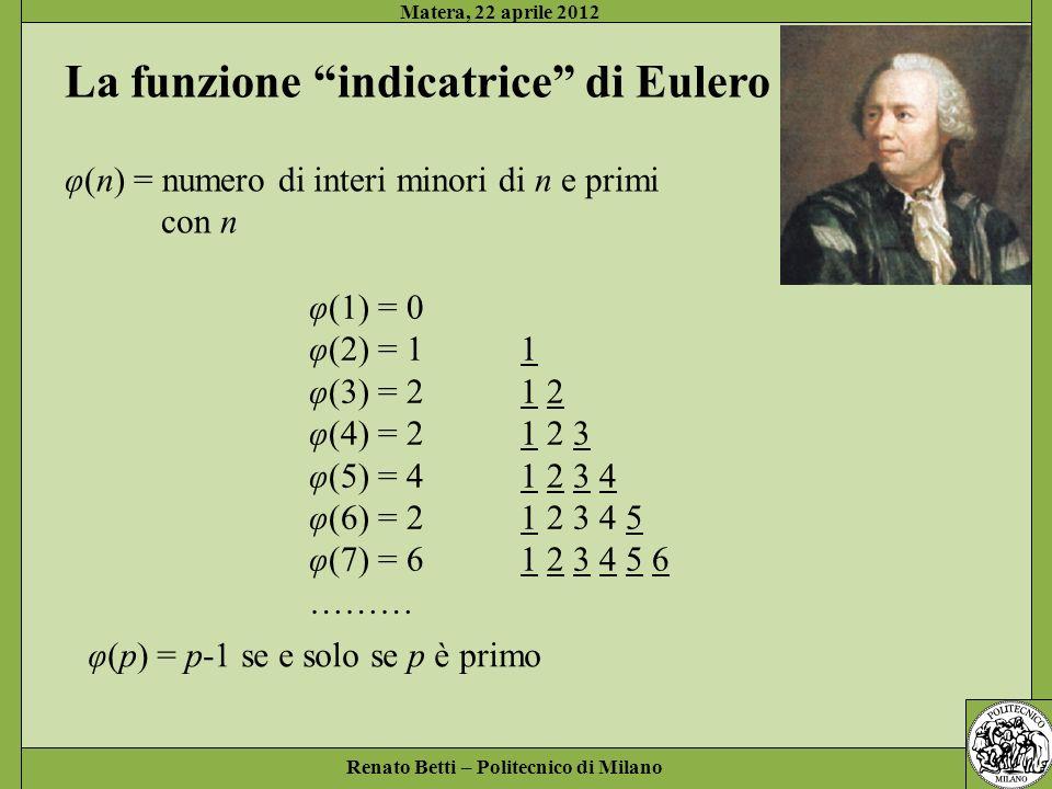 La funzione indicatrice di Eulero