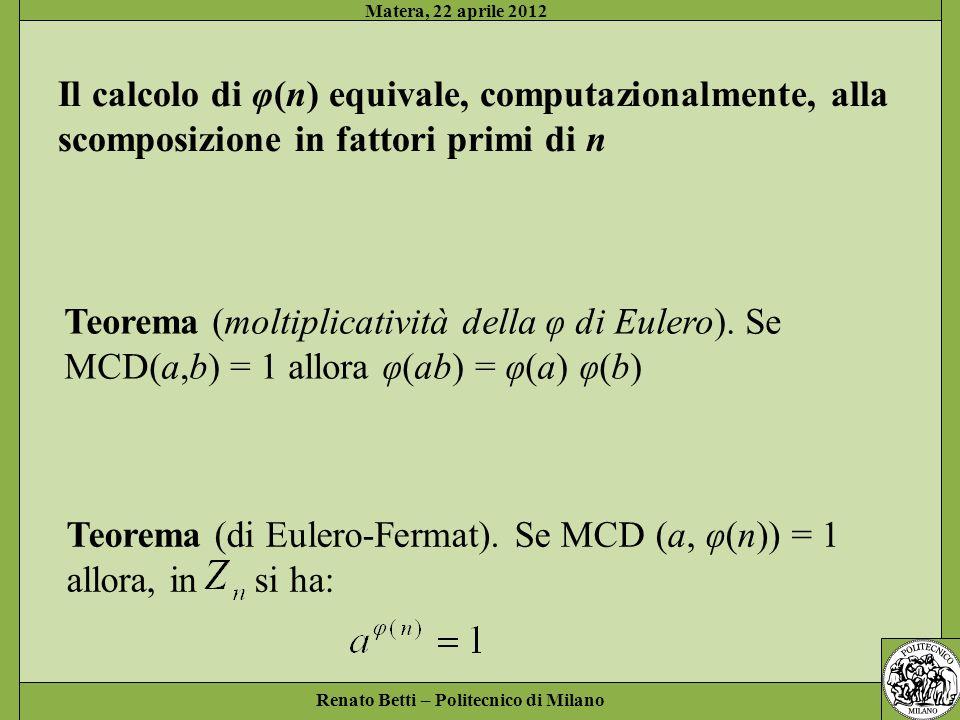 Il calcolo di φ(n) equivale, computazionalmente, alla